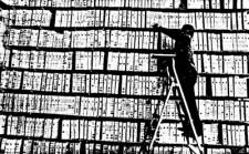 Mann auf einer Leiter an einem Bücherregal