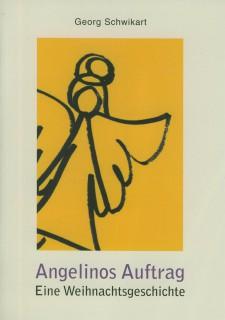 Buchdeckel mit dem Titel Angelinos Auftrag und einem mit schwarzen Stift auf gelben Grund gemalten Engel