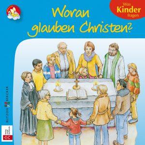 Farbenfrohe Zeichnung von Menschen jeden Alters, die sich an den Händen haltend gemeinsam mit der Pfarrerin einen Kreis um den Altar bilden