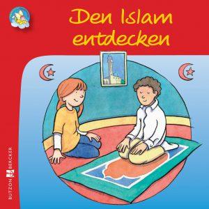 Farbenfroh gezeichnetes Cover von einem Mädchen, das einem moslemischen Jungen beim Gebet auf dem Teppich zuschaut
