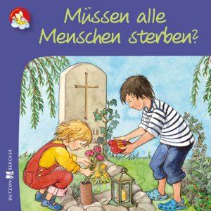 farbenfrohe Zeichnung von einem Jungen und einem Mädchen, die das Grab ihres Opas herrichten