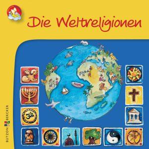 Cover: Farbenfrohe Zeichnung der Welt und der Symbole der Religionen mit den meisten Anhängern