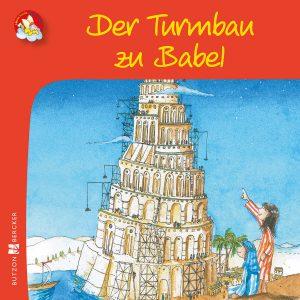 Bunte Zeichnung: Junge und Mädchen schauen auf die Baustelle des Turms zu Babel