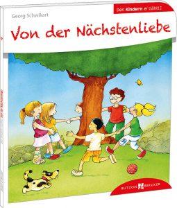 Bunte Zeichnung von Kindern, die um einen Baum Ringelreihe tanzen