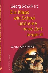 Rotes Buchcover, unten rechts Josef stehend, Maria sitzend mit dem Jesuskind auf dem Schoß im Stall von Bethlehem