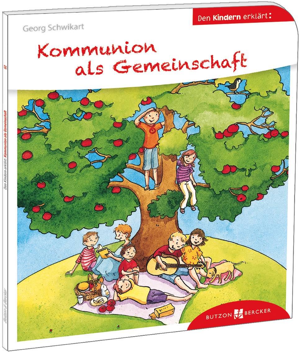 Zeichnung von einem Baum, auf dem kinder klettern und leute darunter ein Picknick machen auf einem Buchumschlag